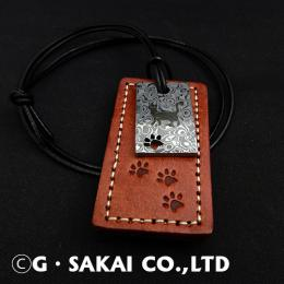 D001 Damascus necklace leather tag SAND CAT