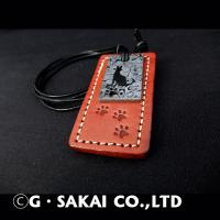 D001 Damascus necklace leather tag SERVAL CAT