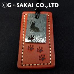 D001 Damascus necklace leather tag CAT