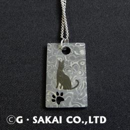 D002 Damascus necklace silver chain SERVAL CAT
