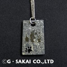 D002 Damascus necklace silver chain GIANT PANDA